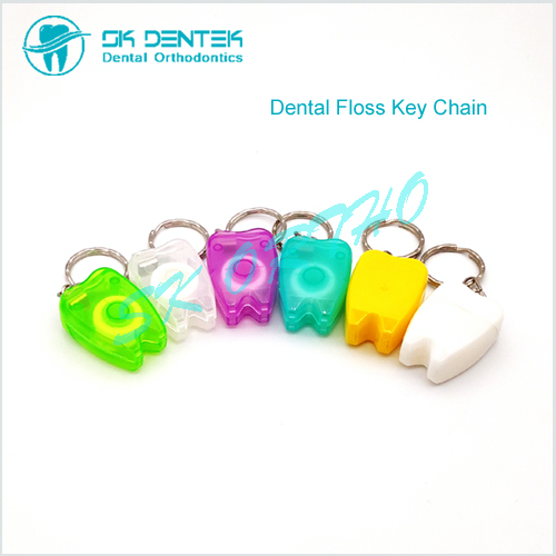 Tooth Shape Dental Floss Key Chain Style